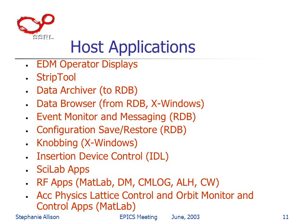 Host Applications EDM Operator Displays StripTool