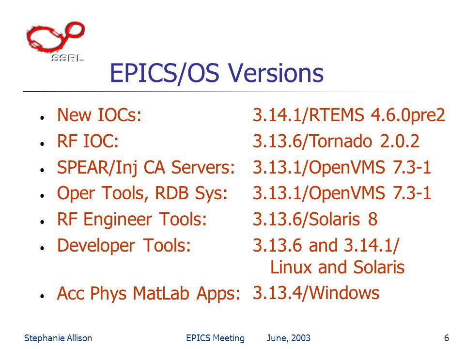 EPICS/OS Versions New IOCs: RF IOC: SPEAR/Inj CA Servers:
