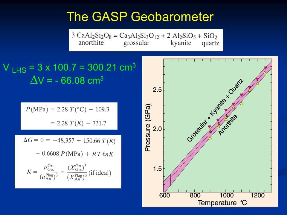 The GASP Geobarometer V LHS = 3 x 100.7 = 300.21 cm3 DV = - 66.08 cm3