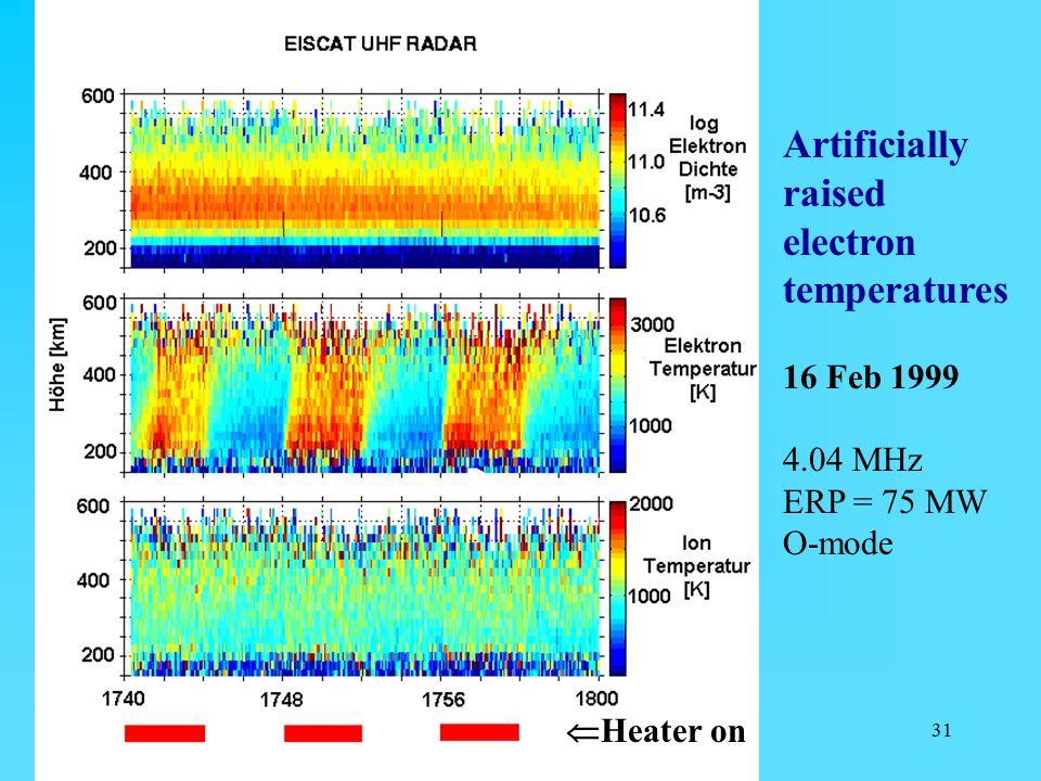 Artificially raised electron temperatures