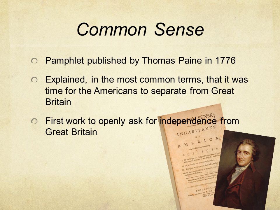 Common Sense Pamphlet published by Thomas Paine in 1776