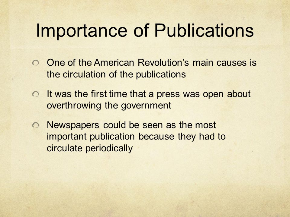 Importance of Publications