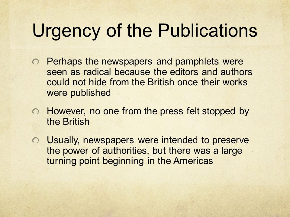 Urgency of the Publications