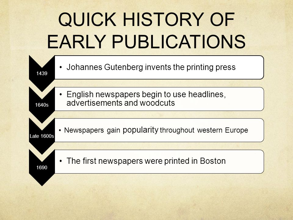 QUICK HISTORY OF EARLY PUBLICATIONS