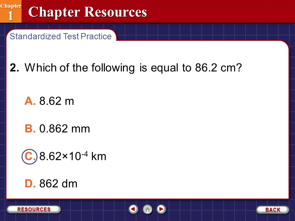 2. Which of the following is equal to 86.2 cm