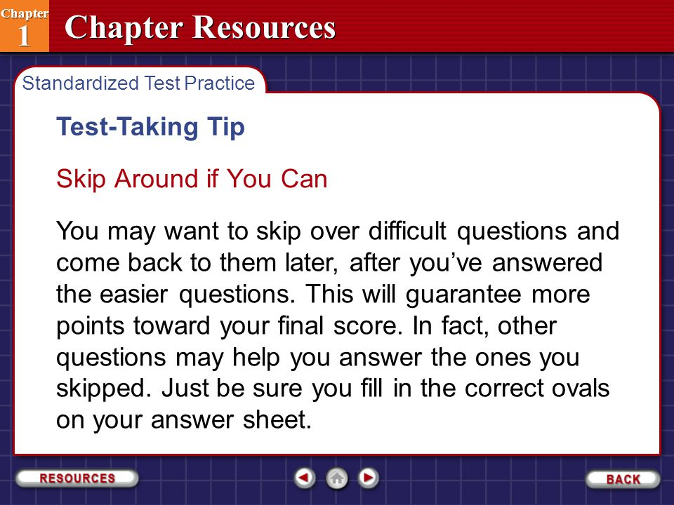 Test-Taking Tip Skip Around if You Can