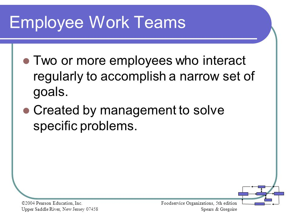 Employee Work Teams Two or more employees who interact regularly to accomplish a narrow set of goals.