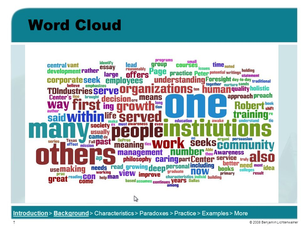 Word Cloud Speaking Notes: Being a bit of a tech geek and a big fan of Web 2.0 / emerging technologies, I had to analyze definitions in one more way.