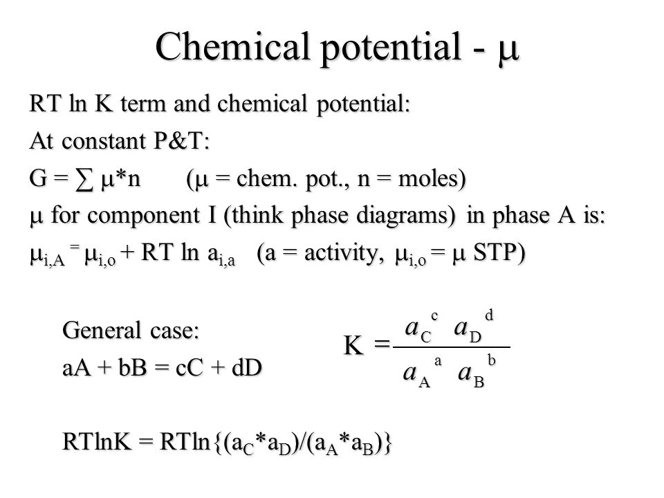 Chemical potential -  = K RT ln K term and chemical potential: