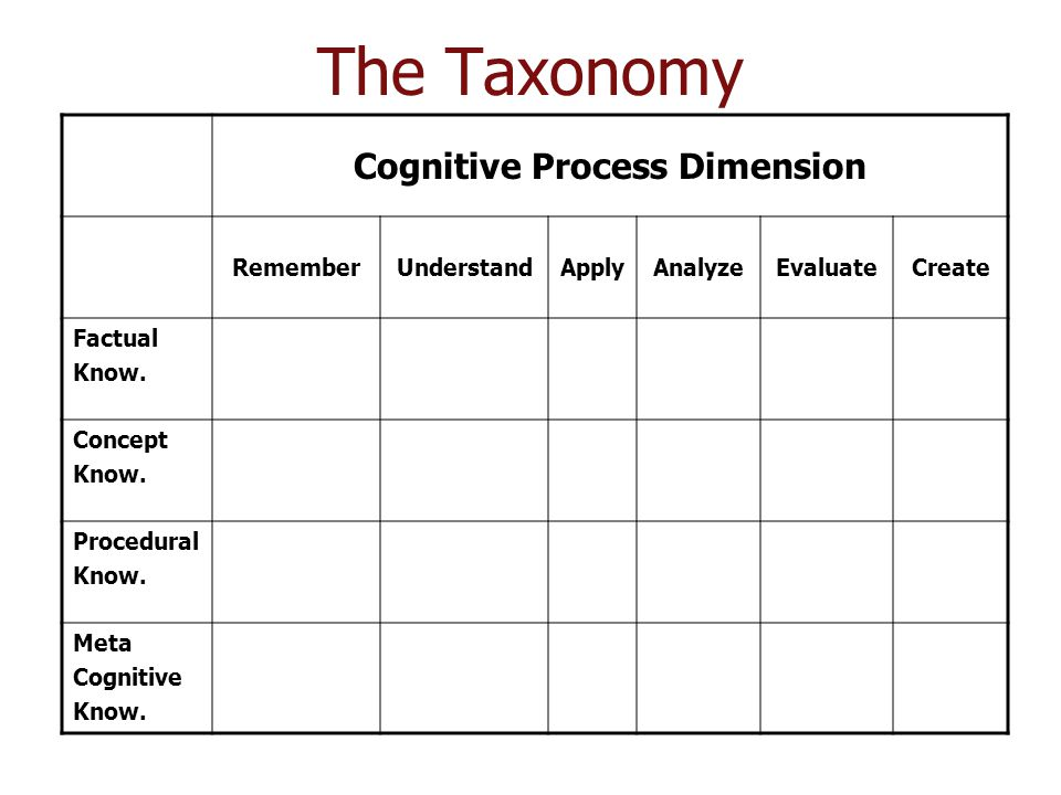 Cognitive Process Dimension