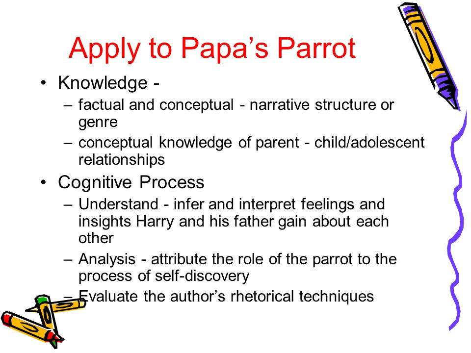 Apply to Papa's Parrot Knowledge - Cognitive Process