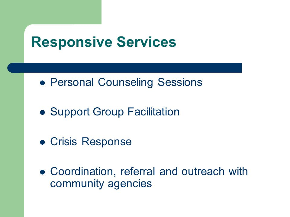Responsive Services Personal Counseling Sessions