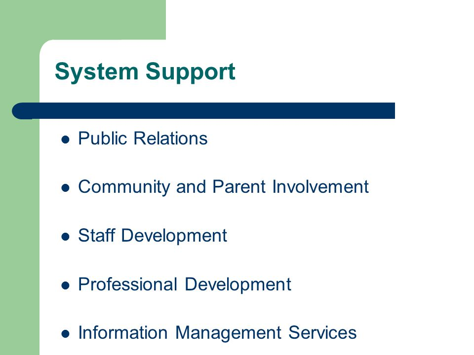 System Support Public Relations Community and Parent Involvement