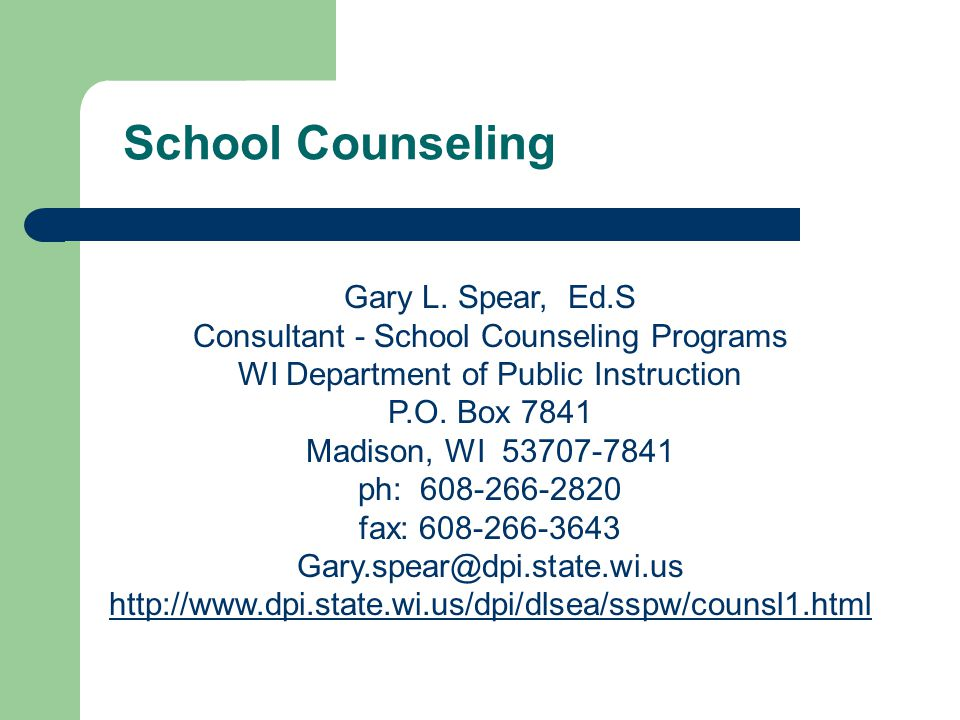 School Counseling Gary L. Spear, Ed.S
