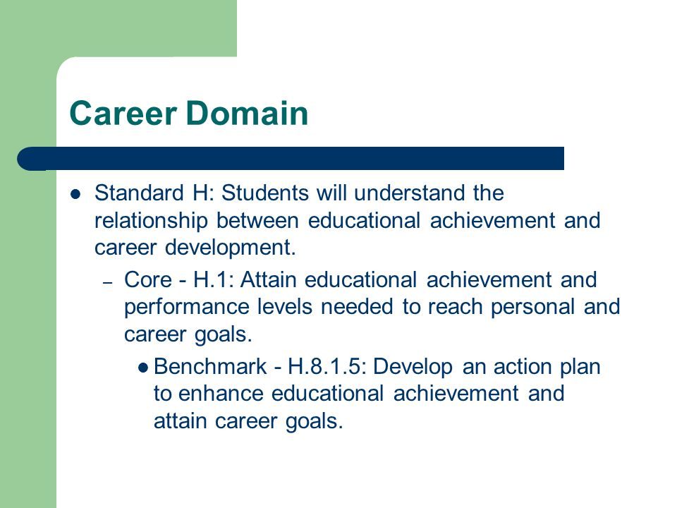 Career Domain Standard H: Students will understand the relationship between educational achievement and career development.