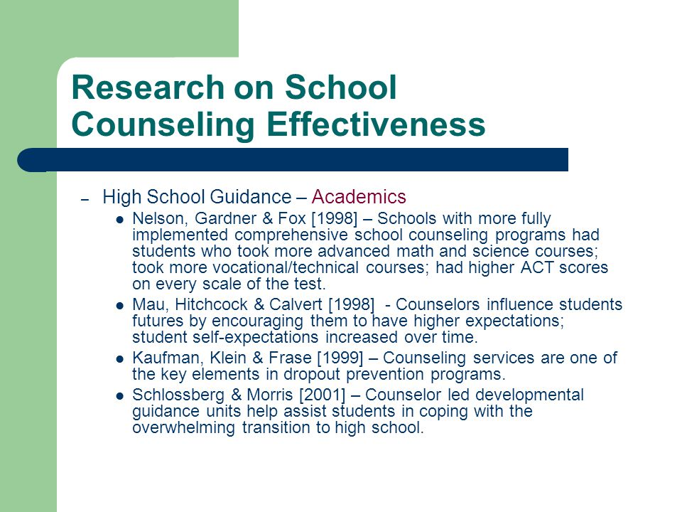 Research on School Counseling Effectiveness