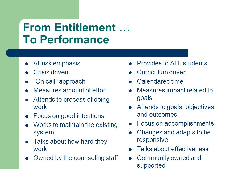 From Entitlement … To Performance