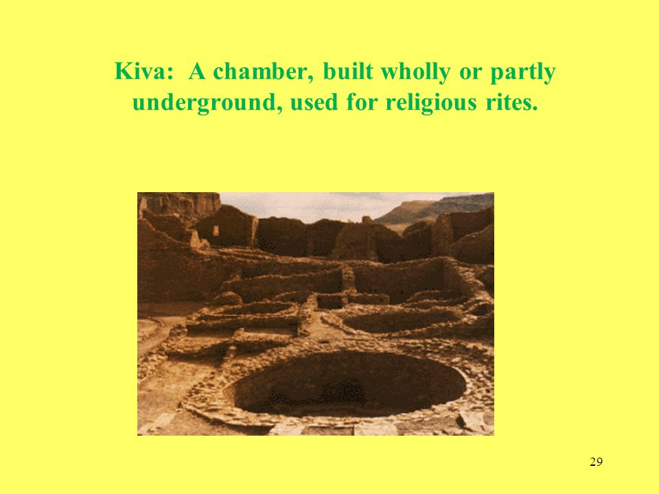 Kiva: A chamber, built wholly or partly underground, used for religious rites.