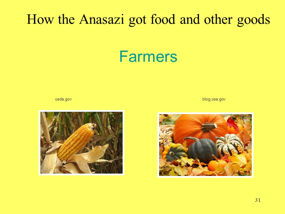 How the Anasazi got food and other goods Farmers