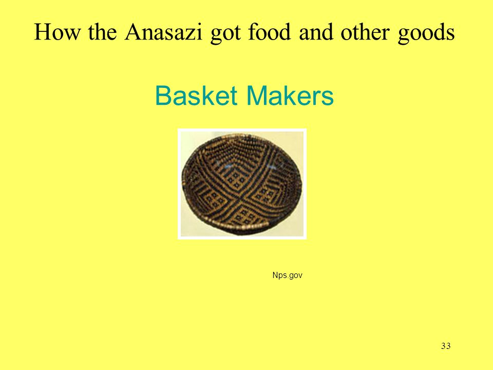 How the Anasazi got food and other goods Basket Makers
