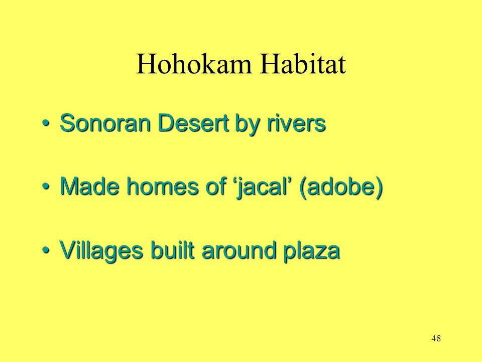 Hohokam Habitat Sonoran Desert by rivers Made homes of 'jacal' (adobe)