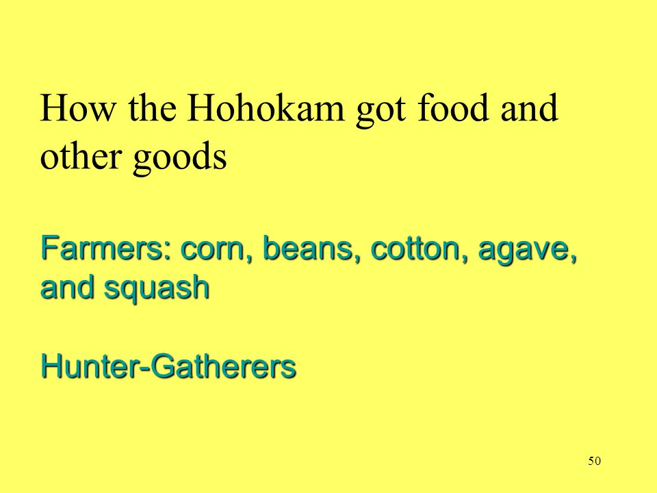 How the Hohokam got food and other goods Farmers: corn, beans, cotton, agave, and squash Hunter-Gatherers
