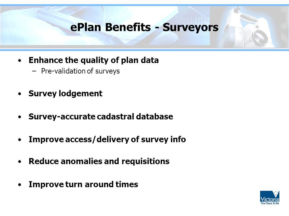 ePlan Benefits - Surveyors