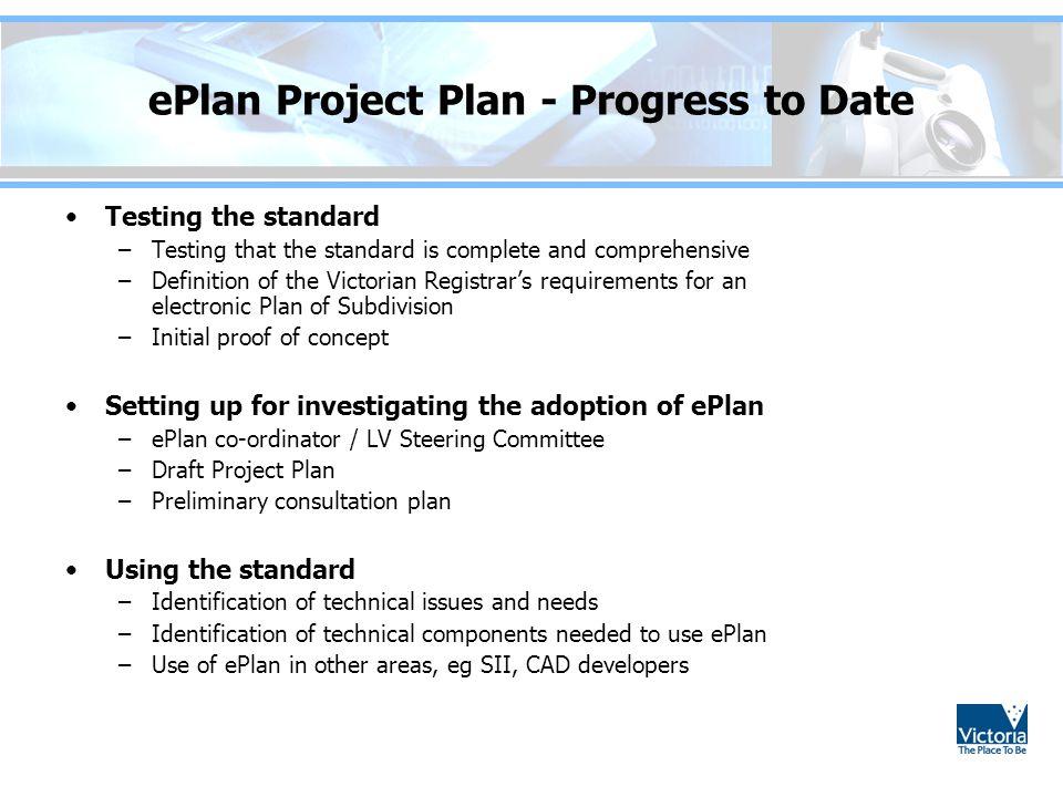 ePlan Project Plan - Progress to Date