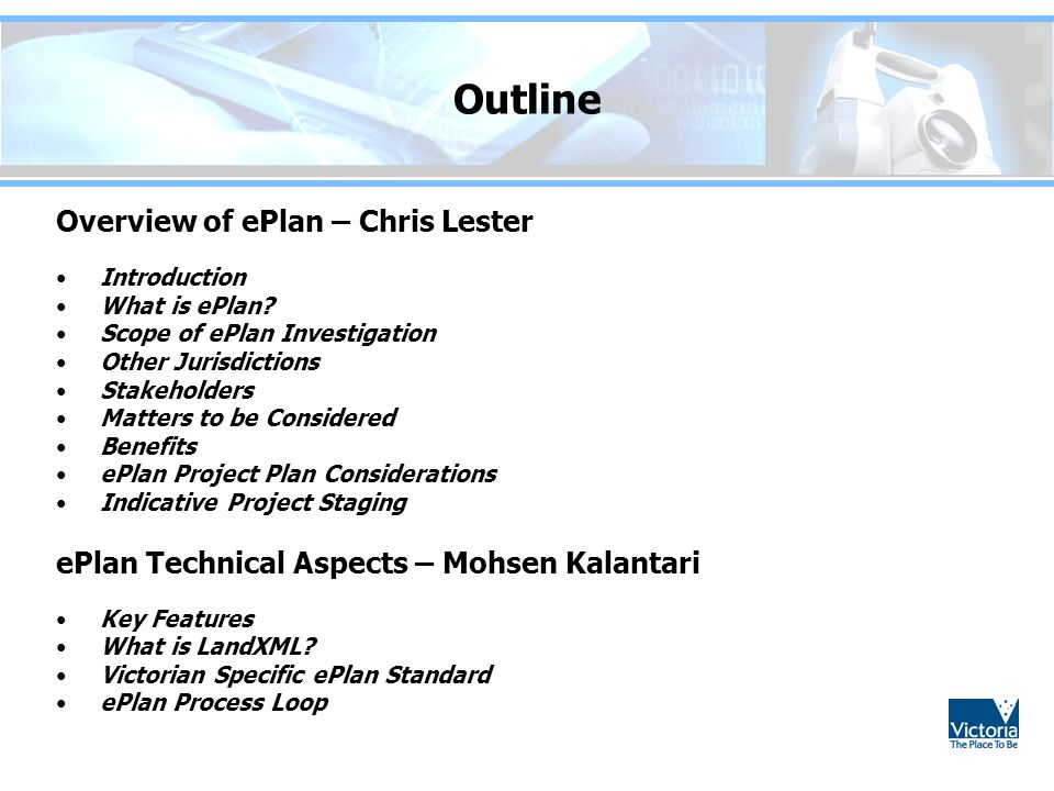 Outline Overview of ePlan – Chris Lester