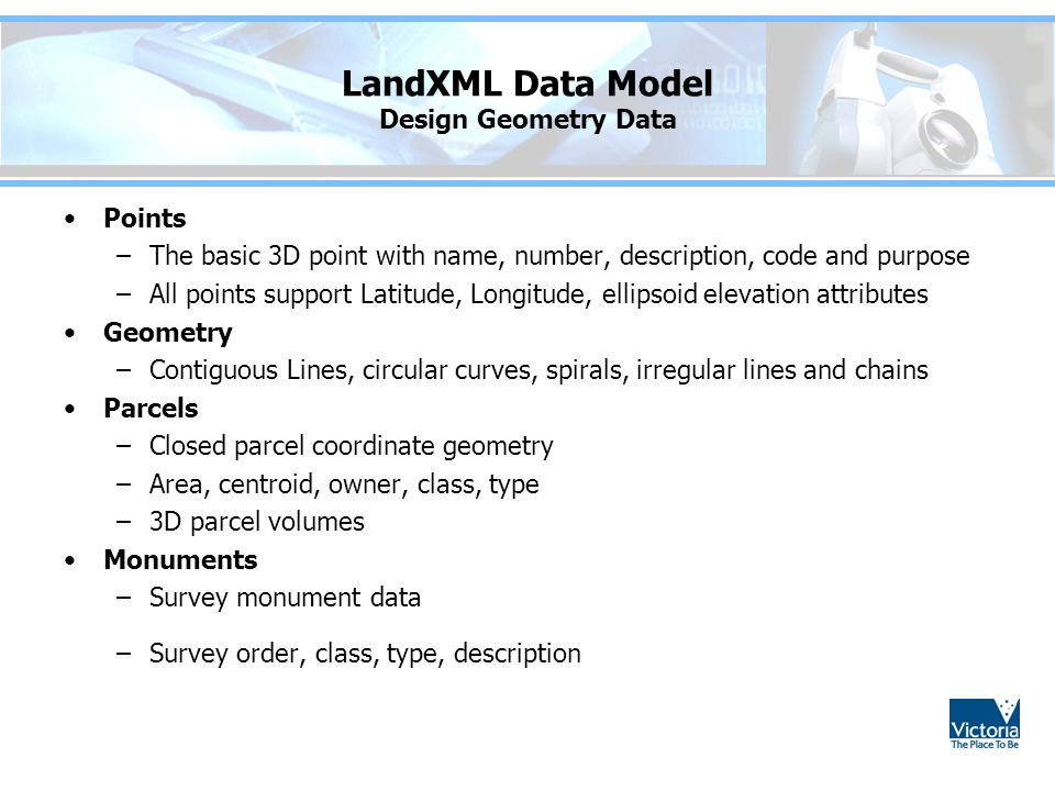LandXML Data Model Design Geometry Data