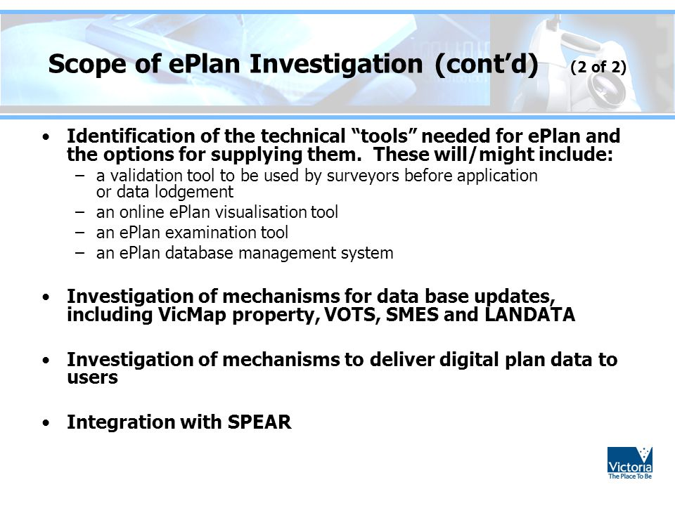 Scope of ePlan Investigation (cont'd) (2 of 2)