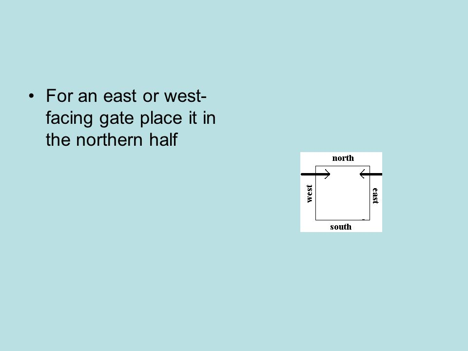 For an east or west-facing gate place it in the northern half
