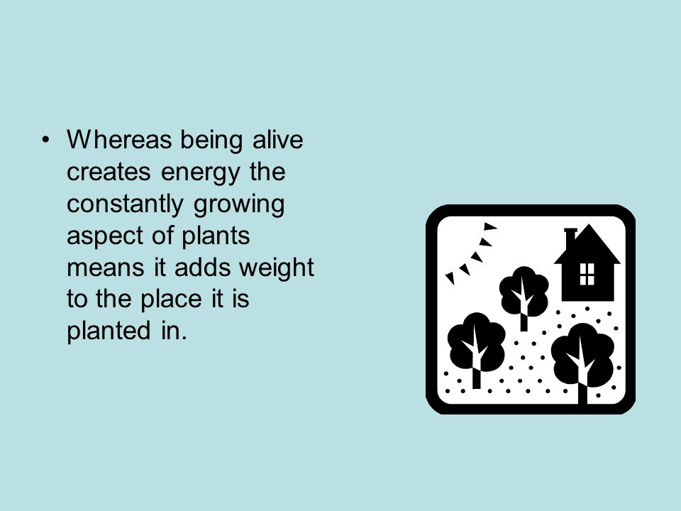 Whereas being alive creates energy the constantly growing aspect of plants means it adds weight to the place it is planted in.