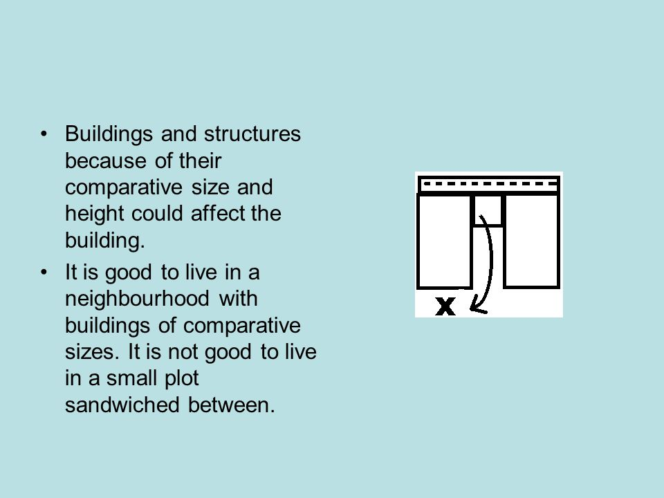 Buildings and structures because of their comparative size and height could affect the building.
