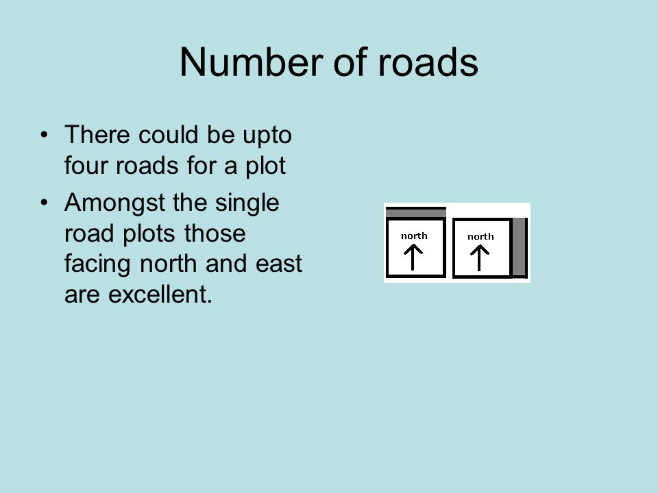 Number of roads There could be upto four roads for a plot