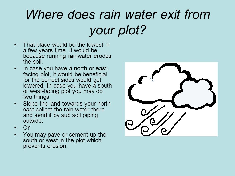 Where does rain water exit from your plot