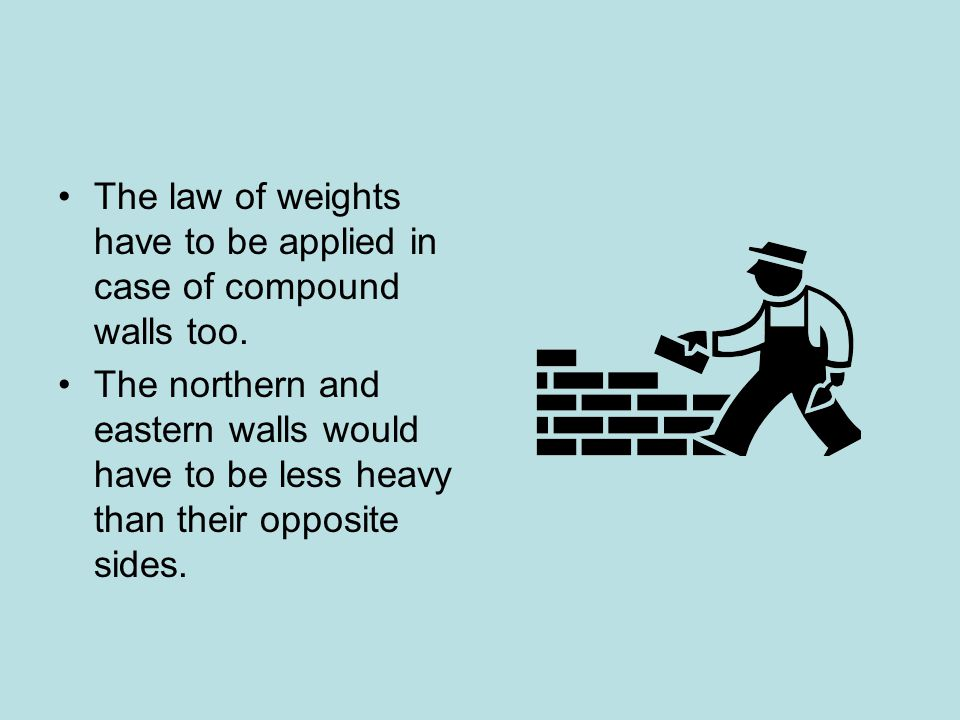The law of weights have to be applied in case of compound walls too.