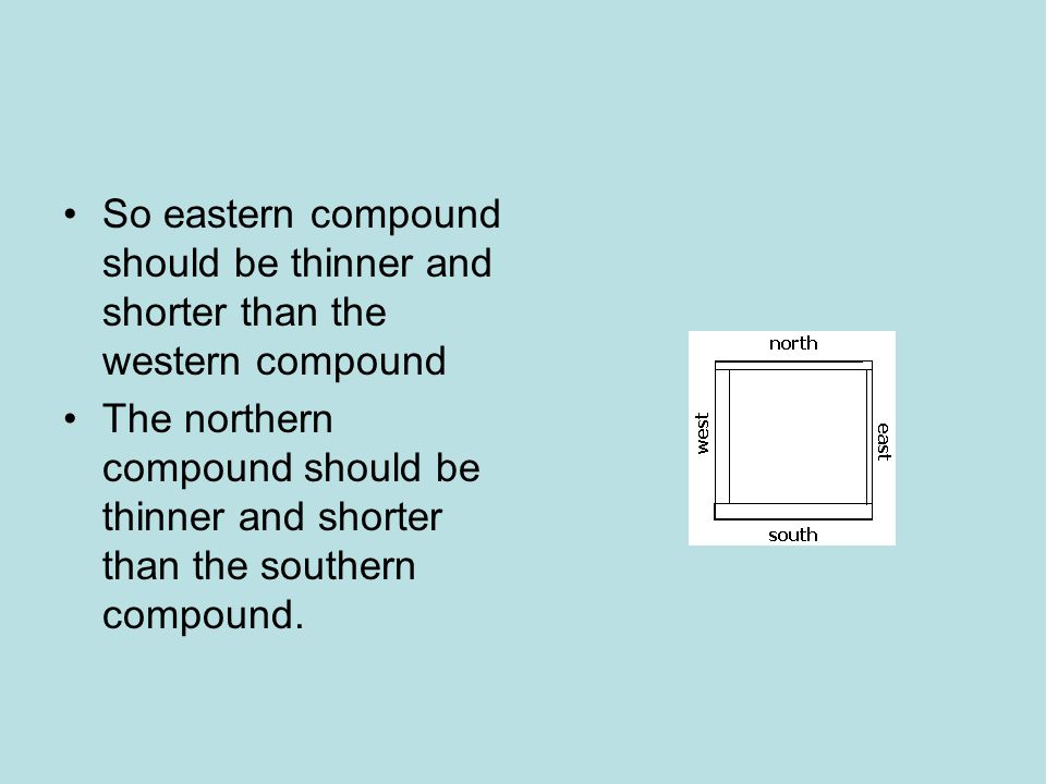 So eastern compound should be thinner and shorter than the western compound
