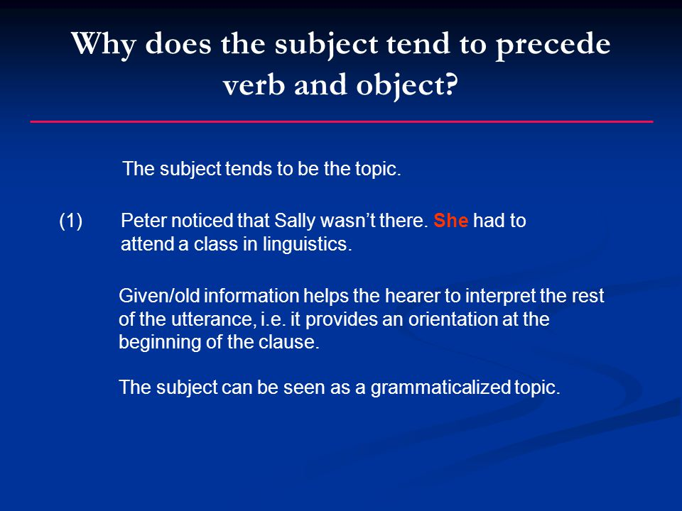 Why does the subject tend to precede verb and object