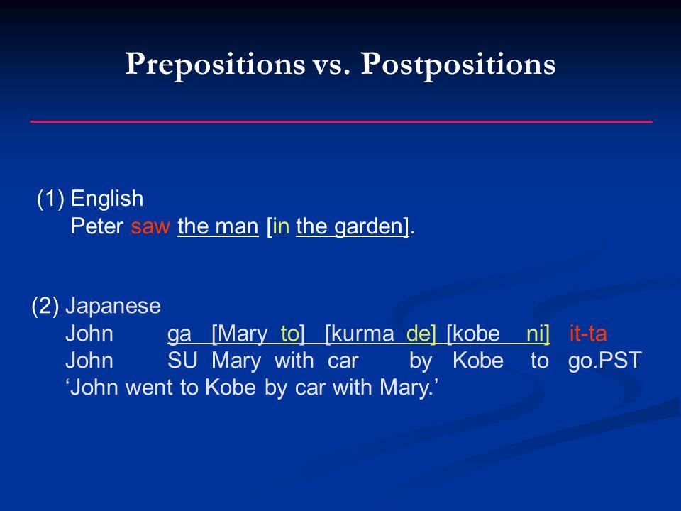 Prepositions vs. Postpositions