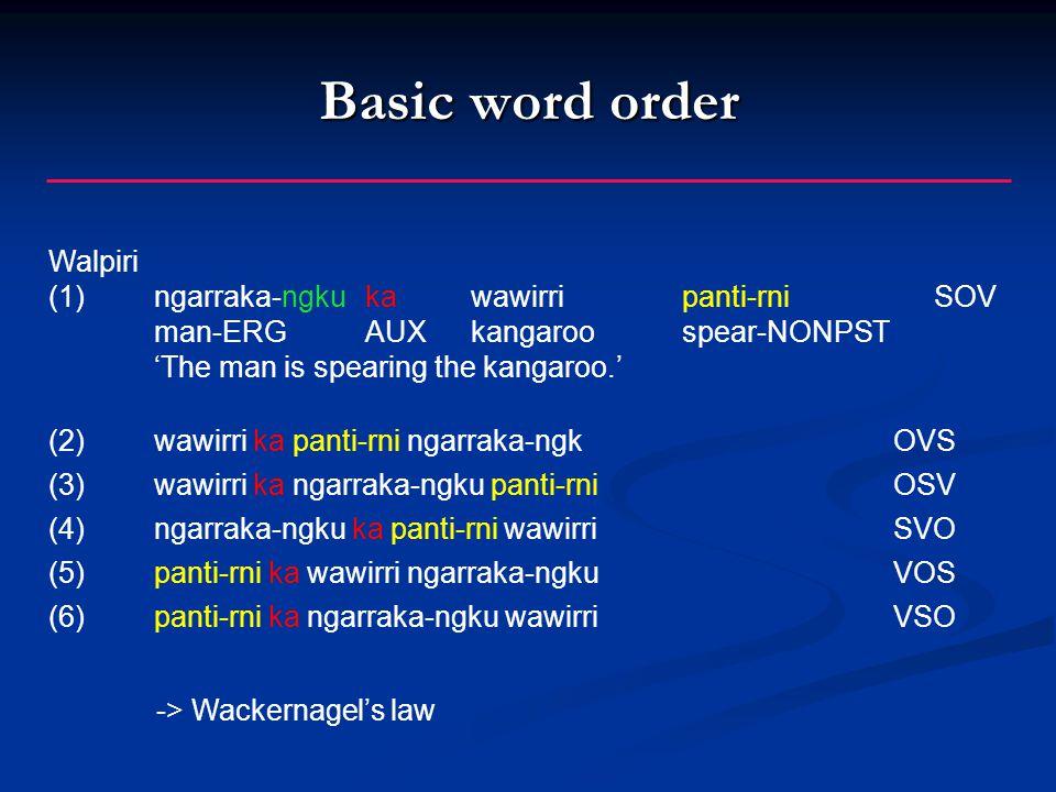 Basic word order Walpiri (1) ngarraka-ngku ka wawirri panti-rni SOV