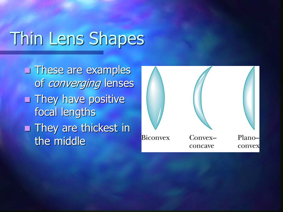 Thin Lens Shapes These are examples of converging lenses