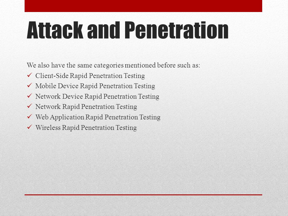 Attack and Penetration