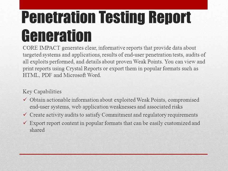 Penetration Testing Report Generation