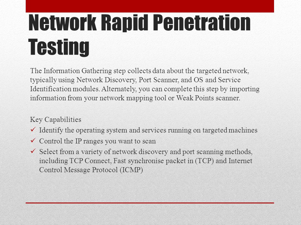 Network Rapid Penetration Testing