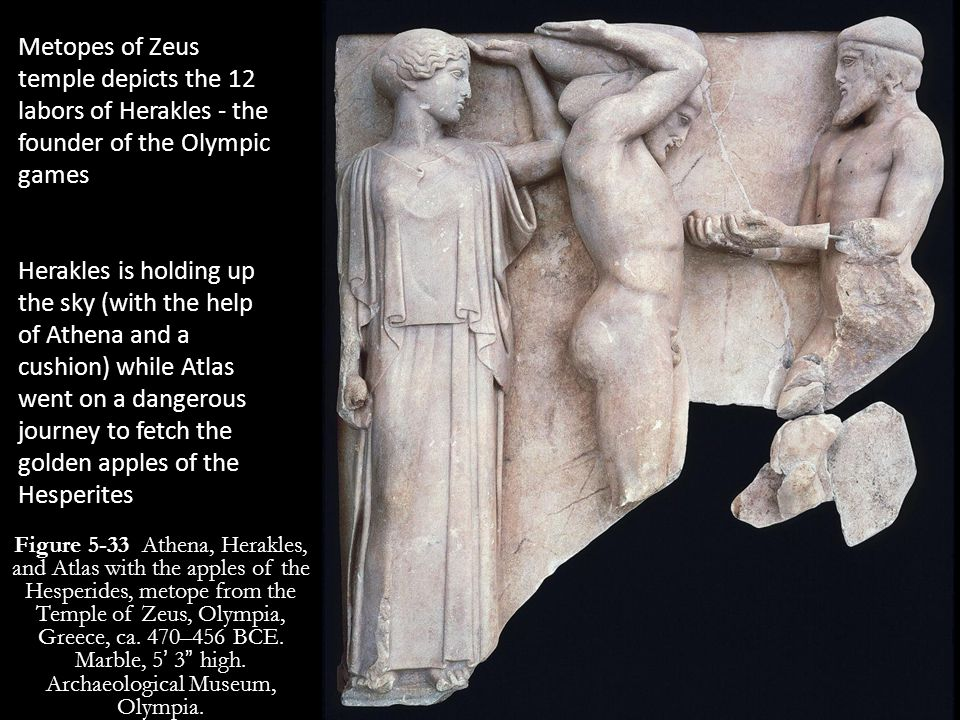 Metopes of Zeus temple depicts the 12 labors of Herakles - the founder of the Olympic games