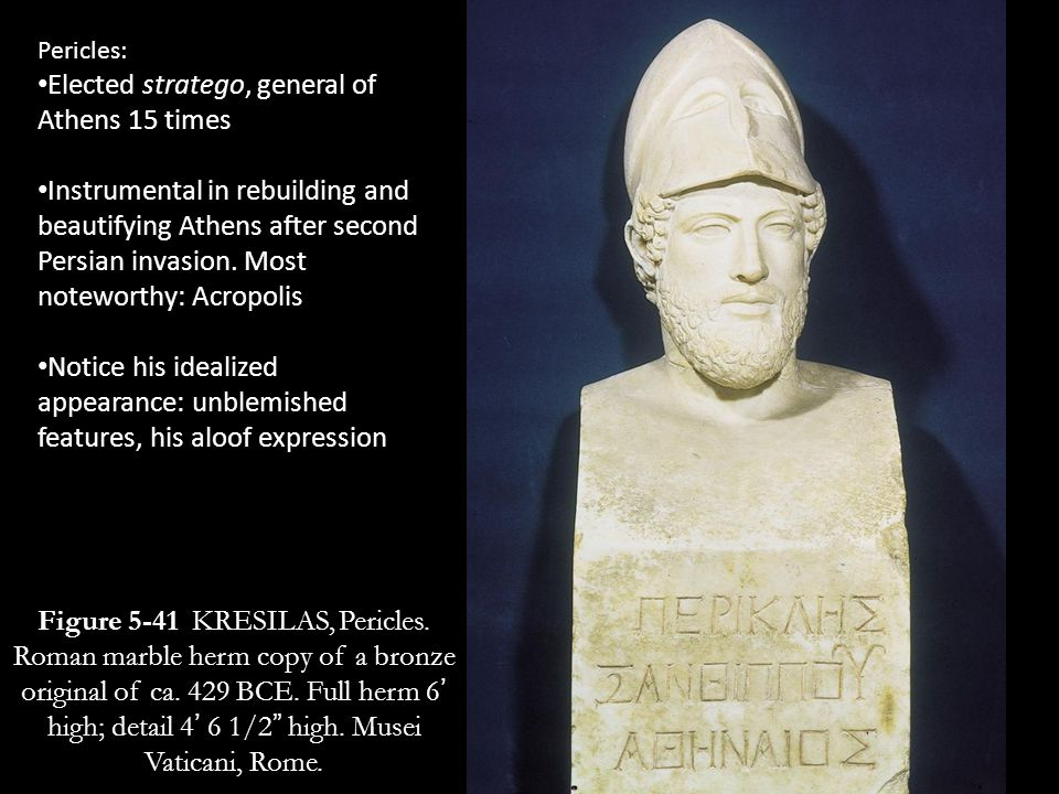 Elected stratego, general of Athens 15 times