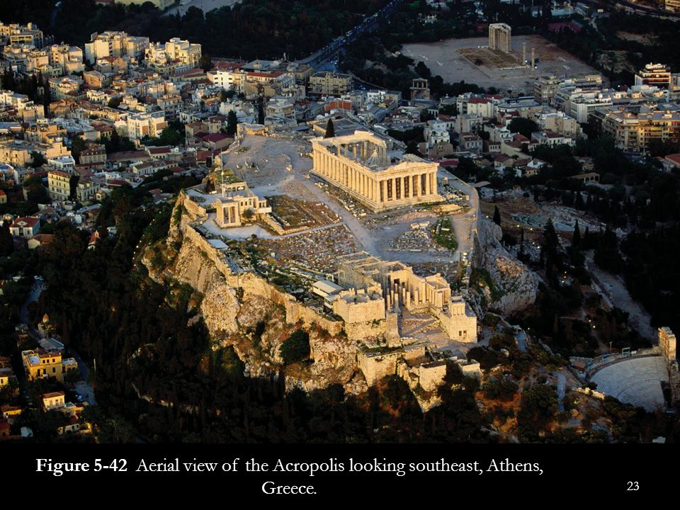 Figure 5-42 Aerial view of the Acropolis looking southeast, Athens, Greece.