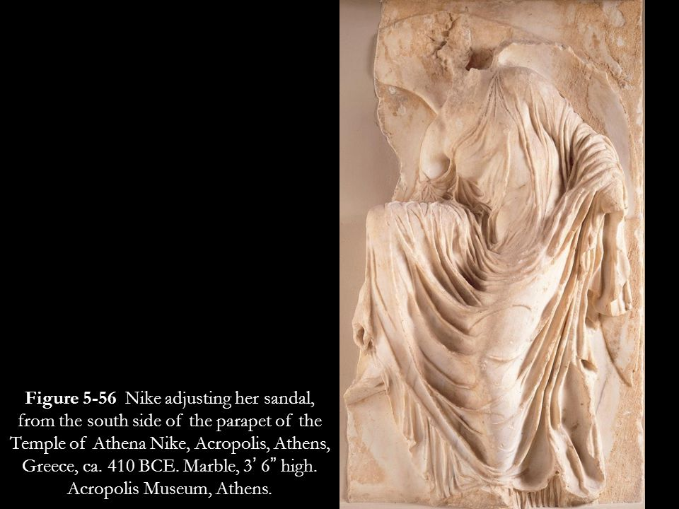 Figure 5-56 Nike adjusting her sandal, from the south side of the parapet of the Temple of Athena Nike, Acropolis, Athens, Greece, ca.