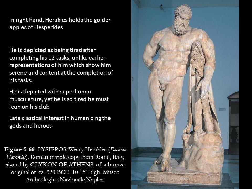 In right hand, Herakles holds the golden apples of Hesperides